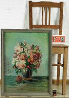 Fahrner Oil Painting Older Antique Still Life Flowers Bouquet Art Deco? Vase