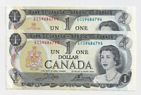 2 x Sequential 1973 $1 Bank of Canada Notes ECS9486794-5 -  UNC
