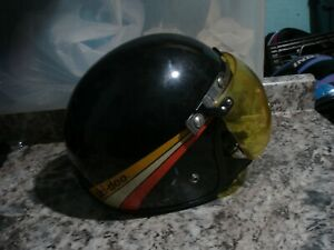 Vintage Ski-Doo Snowmobile Helmet w yellow Visor black reflectors decals COOL