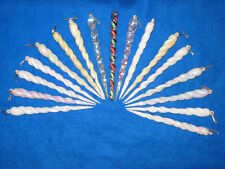 Vintage WHITE, IVORY,SILVER IRIDESCENT Plastic ICICLES Christmas Tree Ornaments