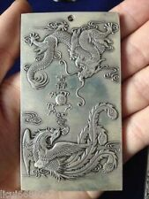 Old Chinese tibet Silver Dragon Phoenix lucky Bullion thanka amulet Pendant