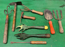 Vintage Garden Tool Lot Cultivating Tool Wooden Handle