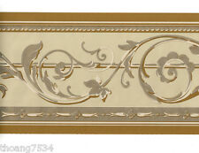 Traditional Metallic GOLD Tan Cream Acanthus Leaf Scroll Wall paper Border