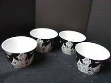 """4 Halloween Bowls """"House of Fright"""" 222 Fifth Black & White"""