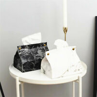 Leather Tissue Box Cover Marbling Napkin Paper Holder Case for Home Hotel Office