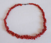 Vintage Estate NATURAL CORAL Bright Red Beaded Beads Choker Necklace Metal Clasp