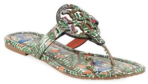 NEW $198 TORY BURCH 7.5 Miller Wild Bird Patent Leather TLogo Flat SHOES SANDALS
