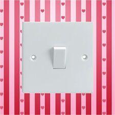 Corazones de color Rosa Rojo Rayas & Interruptor de luz eléctrica Envolvente Impreso Pegatina De Vinilo