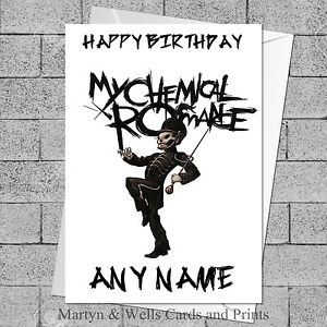My Chemical Romance birthday card. 5x7 inches. Personalised plus envelope.