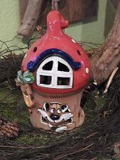 Keramik Windlicht Katze klein Weihnachten Advent Pilz Dekoration Handarbeit