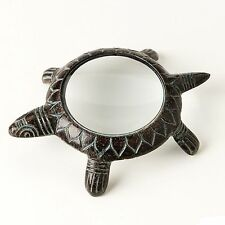 Reading Magnifying Glass Lucky Turtle Cast Metal Green Patina Reader Magnifier