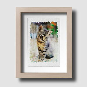 Tabby Cat Abstract Watercolour Animal Pet Lover Wall Art Print Unframed Picture