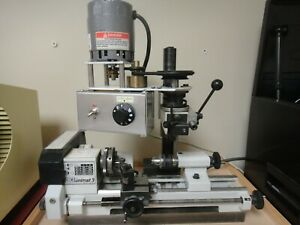 UNIMAT 3 LATHE & motorized drilling/milling attachment, mounted on steel plate