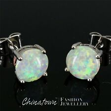 8mm Round White Fire Opal Cabochon Silver Jewellery Simple Stud Earrings