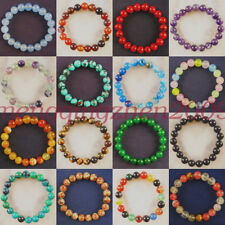 Wholesale 6mm Mixed Gemstone Elastic Round Beads Bracelet 7 Inch Choose