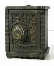 ca1900 CAST IRON UNION BANK COMBINATION FLOOR SAFE FIGURAL STILL BANK By KENTON
