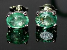 925 Sterling Silver JEWELRY Earrings Stud`s Gemstone 100% natural EMERALD 4X6 MM