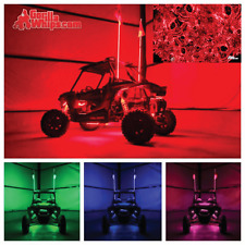 LED Lighted 6' Whip with WIRELESS Remote- ATV UTV RZR w/Red Smoke Skull Flag