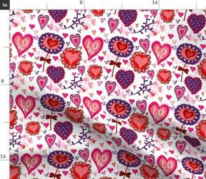 Valentine Heart Love Children Girly Spoonflower Fabric by the Yard