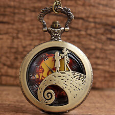 Cool Steampunk Nightmare Before Christmas Theme Quartz Pocket Watches With Chain