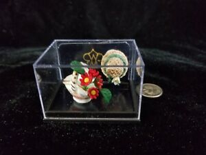 1:12 Dollhouse Miniature ~Lovely Reutter German Porcelain~Flower Basket & Hat
