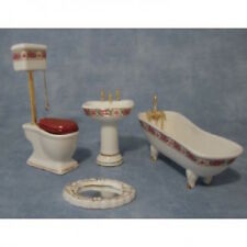 Dolls House  Deluxe Pink High Level Bathroom Set DF1431 4 piece