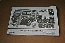 """AMT 1/25 1941 FORD CUSTOM WOODY """"STREET RODS"""" COMPLETE INSTRUCTIONS GUIDE SHEET!"""