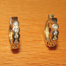 STUNNING SECONDHAD 9ct YELLOW GOLD DIAMOND SET HOOP EARRINGS FOR PIERCED EARS
