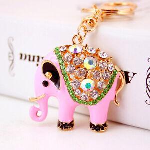 Indian Style Elephant Crystal Diamante Bag Charms Handbag Keyrings Pendant