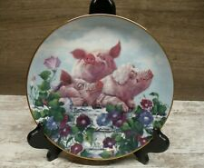 """""""Hamming it Up"""" by Joan Wright Danbury Mint Collector Plate """"Pigs In Bloom"""""""