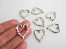 10pcs Antique Silver Open Loving-heart Charm Pendant Jewelry Findings For DIY