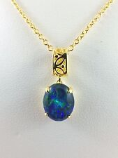 Genuine Lightning Ridge Triplet Opal Necklace Pendant 18ct Gold Plated w Chain