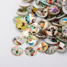LOT de 10 CABOCHONS en VERRE thème PAPILLON BUTTERFLY ronds 10mm perles bijoux