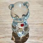 """Fenton Crystal  Bear Glass /Birthstone July Birthday Bear Ruby Heart 3.5"""""""