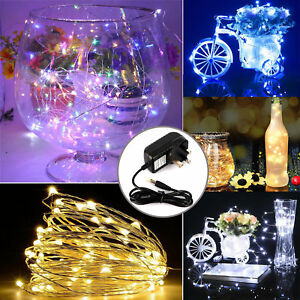 10m LED DC12V Micro Wire Copper Fairy String Christmas Lights Party + UK adapter