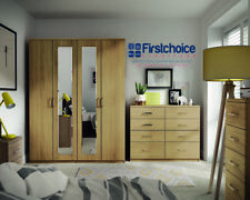 Ready Assembled Medina HickoryOak Wardrobe Drawer Complete Bedroom Furniture Set