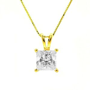 "1 Ct Princess Brilliant Cut Solid 14K Yellow Gold Solitaire Pendant 18"" Necklace"