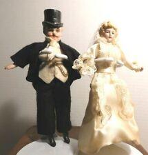 """5"""" German Marked Antique Bisque Head Bride & Groom Dollhouse Dolls"""