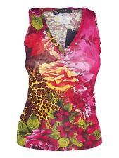 vengera maglia donna top rosso floreale stretch made italy taglia it 42 m medium