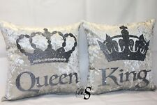 """Personalised Silver Crushed Velvet, Glitter """"Queen"""" """"King"""" Cushions."""