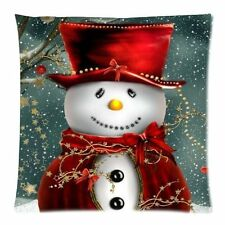 "Custom Zippered / Snowman Case Christmas Square Pillow Cover Stock 18""x18"""
