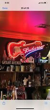 Budweiser Beer Advertising Neon Guitar Sign Rare