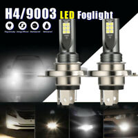 Pair H4 9003 HB2 Fog Light LED Headlight 120W Hi/Lo 6000K Driving DRL Lamp White