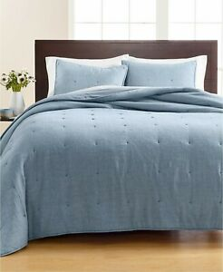 Martha Stewart FULL/QUEEN Quilt Tufted Cotton Chambray BLUE A9Y002