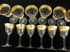 12-Vintage Cordial Glassses -Etched Gold Design