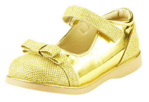 Girl's Party Dress Shoes Mary Jane w Bow Glitter Shiny Gold, Silver Toddler size