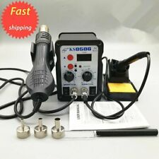 2in1 8586 Digital Soldering Iron Station Desoldering Hot Air Gun SMD Rework LED