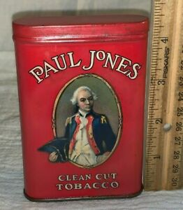 ANTIQUE PAUL JONES ADMIRAL TIN LITHO VERTICAL POCKET TOBACCO CAN COUNTRY STORE