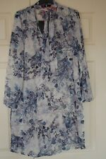 New 12 V Very Long Line Chiffon Shirt Style Tunic Dress Bow Tie Neck Blue Floral