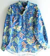 Polo Ralph Lauren Big and Tall Mens Blue Tropical Button-Front Shirt NWT 3XLT